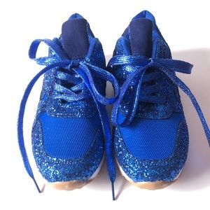CUSTOM SPARKLY BLUE GLITTER SNEAKERS SIZE 7